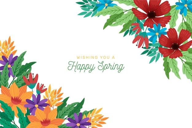 挨拶とカラフルな春の背景
