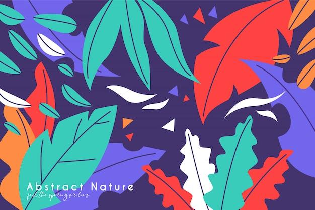 Красочный весенний фон с листьями