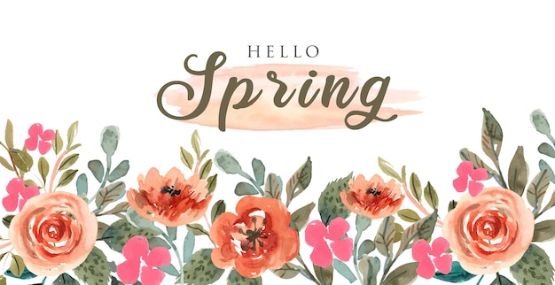 Colorful spring background with orange watercolor flowers frame-02
