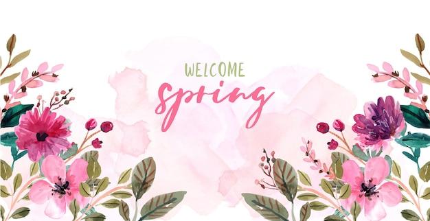 ピンクの水彩花フレームとカラフルな春の背景