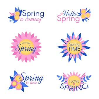 Colorful spring badge collection