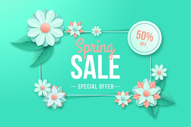 Colorful spring deal in paper style banner