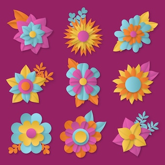 Colorful spring flower collection in paper style