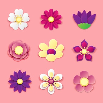 Colorful spring flower collection on paper style