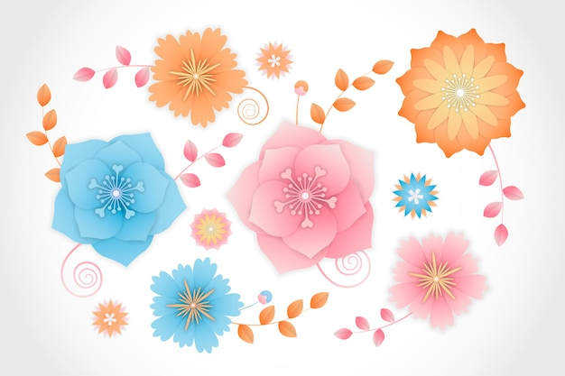Colorful spring flowers in paper style