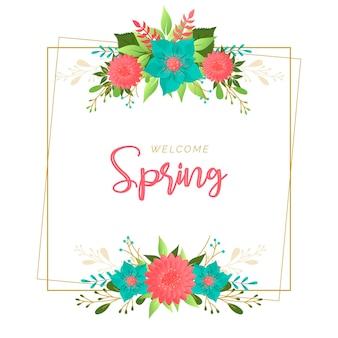Cornice colorata primavera con fiori diversi
