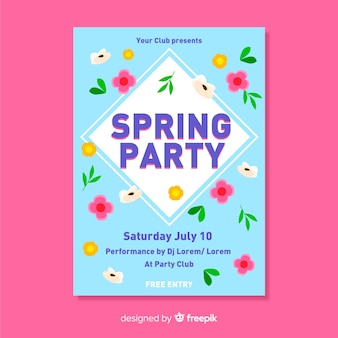 Colorful spring party poster