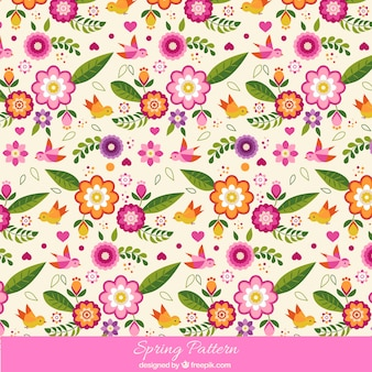 Colorful spring pattern with birds