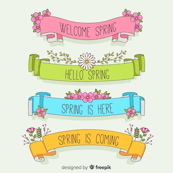 Colorful spring ribbon set