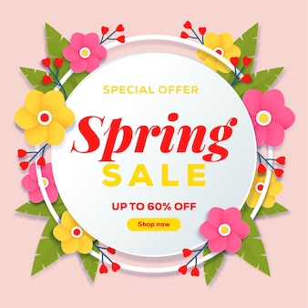 Colorful spring sale banner in paper style