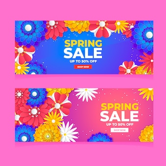 Colorful spring sale banners flat design