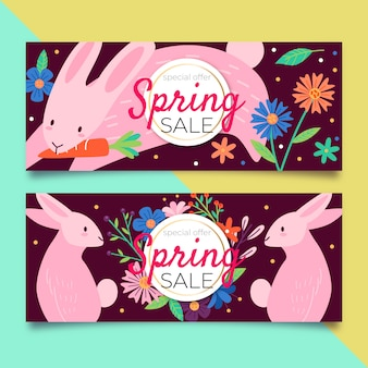 Colorful spring sale banners