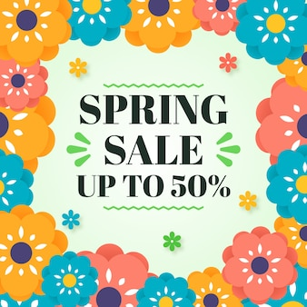 Colorful spring sale concept with discount