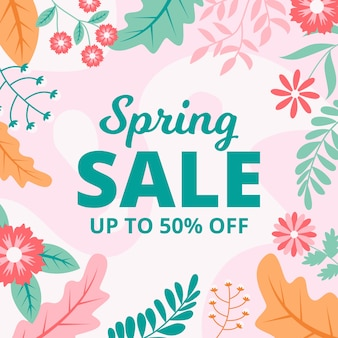 Colorful spring sale in flat design