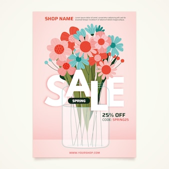 Colorful spring sale flyer template