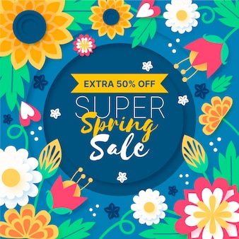 Colorful spring sale in paper style concept