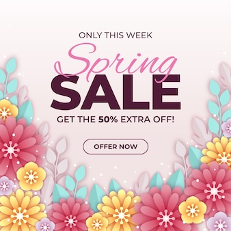 Colorful spring sale in paper style design