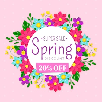 Colorful spring sale in paper style theme
