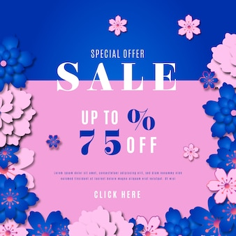 Colorful spring sale in paper style with flowers