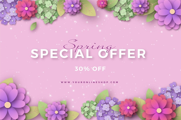 Colorful spring sale in paper style