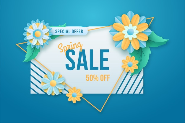 Colorful spring special offer bannerin paper style