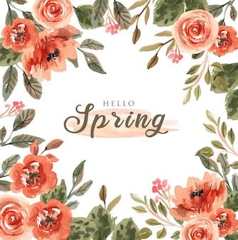 ピンクの水彩花とカラフルな春の正方形の背景