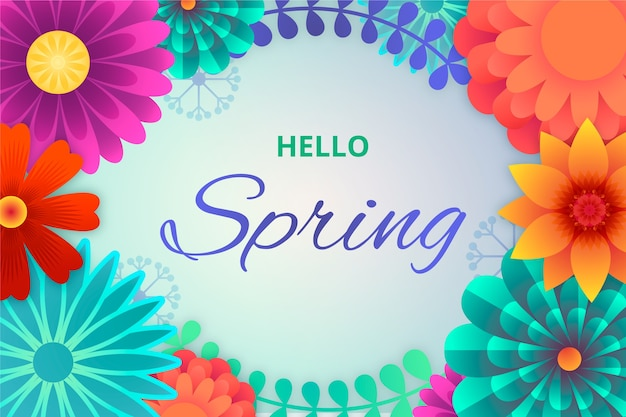 Colorful spring wallpaper with flowers