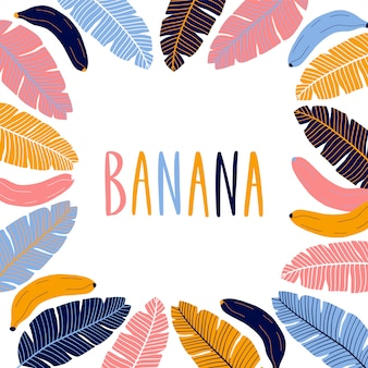 Colorful square border frame with bananas.