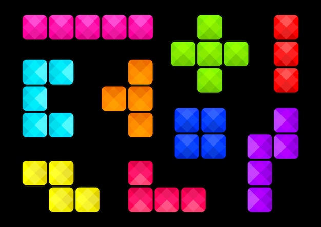 Colorful square buttons, types of block connections.