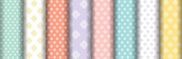 Colorful square seamless patterns set set