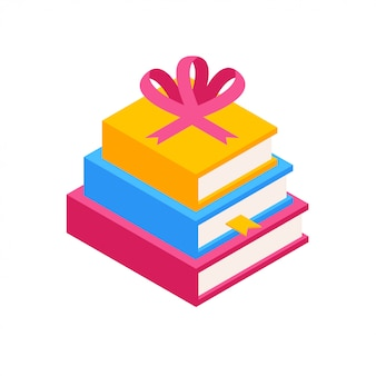 Colorful  stack of books with ribbon in isometric.