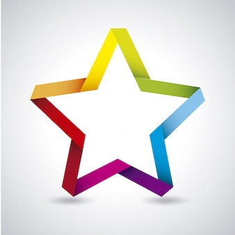 Colorful star over gray background vector illustration