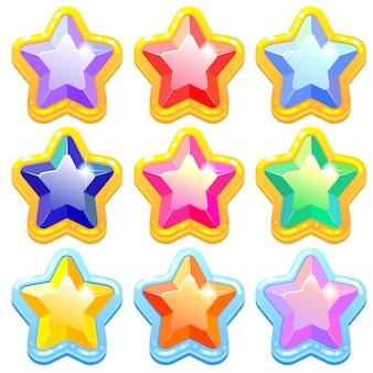 Разноцветные блестящие драгоценные камни в форме звезды