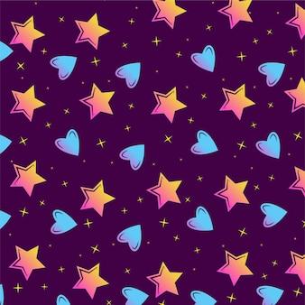 화려한 별과 하트 원활한 벡터 패턴
