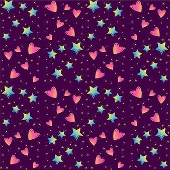 カラフルな星と心のシームレスなベクトルパターン