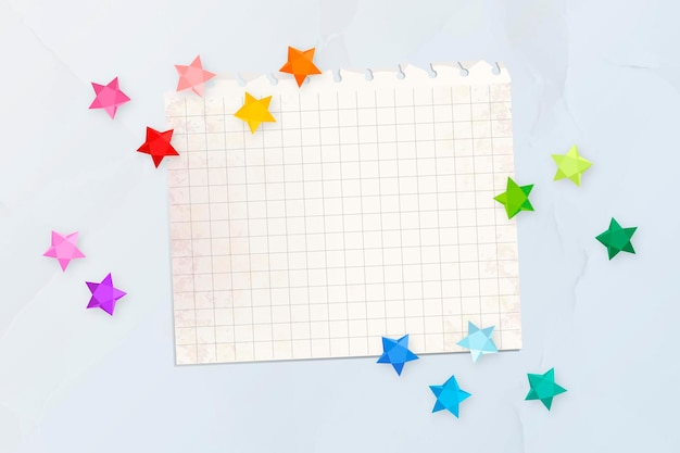 Colorful stars on a blank paper