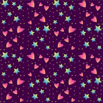 Colorful stars and hearts seamless vector pattern