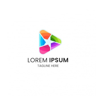 Colorful stars media play logo icon design template