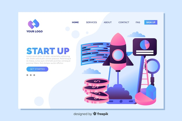 Colorful start up landing page with coins