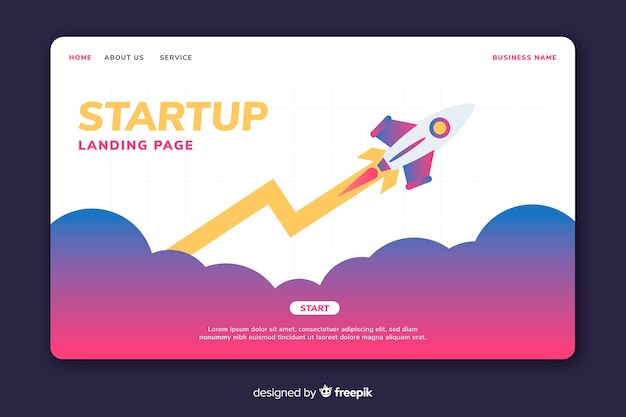 Colorful startup landing page