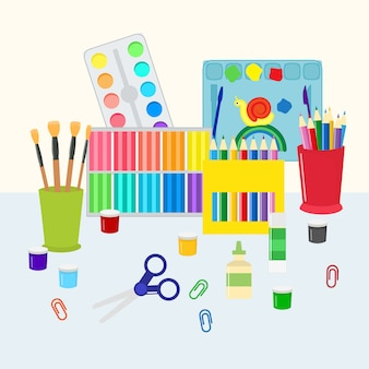 Colorful stationery set  . coloring pencils, pens, scissors and paints with brushes. kids and school supply, art