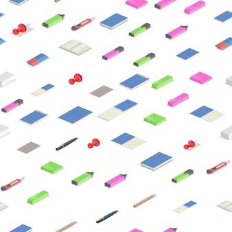 Красочные канцелярские товары изометрической бесшовные модели. красочные изометрические иллюстрации. на белом фоне.
