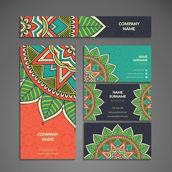Colorful stationery with mandalas