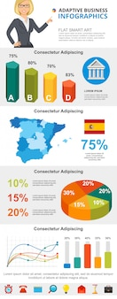 Colorful statistics or marketing infographic charts set