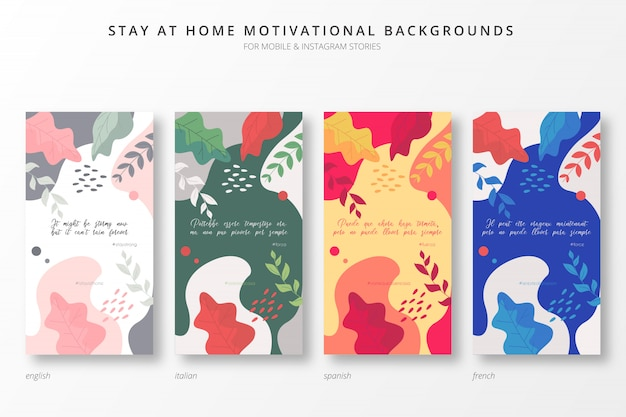 Colorful stay at home motivational backgrounds in four languages