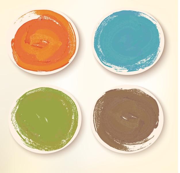 베이지 색에 고립 된 다채로운 스티커 아이콘