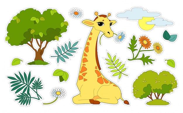 キリン、木、花、白い背景で隔離の太陽とカラフルなステッカーパック。子供のゲームや装飾をカットして接着します。野生動物、哺乳類、草食動物の就学前の発達活動。