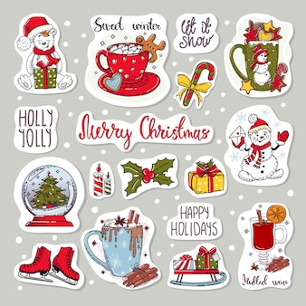 Colorful stickers set of icons. christmas and new year elements.