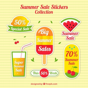 Colorful stickers for summer sales
