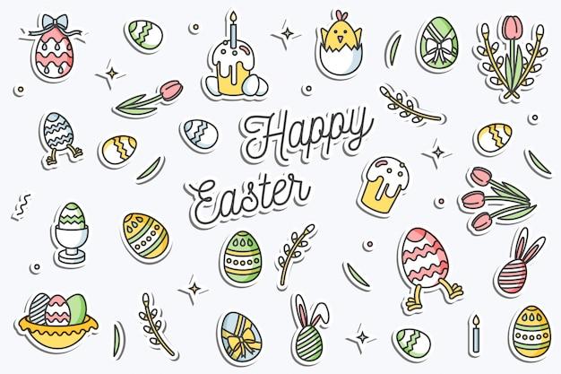 Красочные наклейки с иконой счастливой пасхи. элементы линейного дизайна пасхальные поздравления.